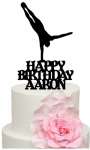 Handstand Gymnast with Personalised name Birthday Cake Acrylic Topper